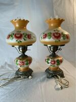 "PAIR OF ANTIQUE ACCURATE CASTING FLORAL ""GONE WITH THE WIND"" LAMPS 3 WAY"