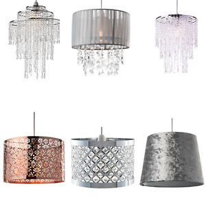Light Shade Easy Fit  Ceiling Pendant Lampshade Hanging Chandelier Drum Crystal