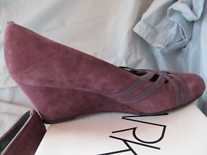"MARKON Plum Suede Leather Wedge ""Quarry"" Slip On Women's Shoes 7 M New In Box"