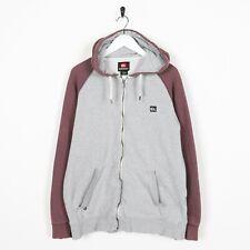 Vintage QUIKSILVER Small Logo Zip Up Hoodie Sweatshirt Grey | Large L