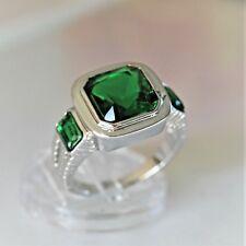 Exklusiver Herren Damen Ring WeißGold 18K GP vergoldet Smaragd grün Gr 62 Ø19,7