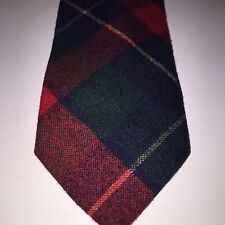 Vintage Pendleton Necktie Mens Wool Plaid Flannel Bow Green Red Christmas