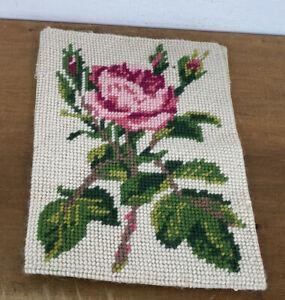 Vtg Floral Cover Piece Rose Design Needlework Decoration Tapestry Furnishing