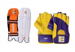 Cricket Wicket Keeping Combo Protective Gear Skipper Leg Guard Pad Striker Glove