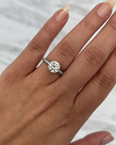 2 ct White Moissanite Solitaire Engagement Ring 14K White Gold Plated Size 8.25