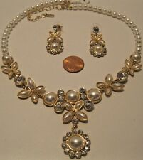 Necklace Earring White Pearls Rhinestones Vintage Bride Wedding Formal NWT L755