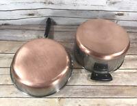 """Vintage Revere Ware 10"""" Frying Pan & 4.5 QT Stock Pot Copper Clad 1801 SS"""