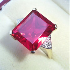 9ct Gold Emerald Cut 7.00ct Ruby & Diamond Ring, Size N 1/2