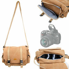 Tan Canvas Carry Bag for Nikon D60, D70, D80, D90 Camera w/ Shoulder Strap
