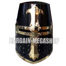Medieval Crusader Helmet Templar Knight Helmet +Black Finish Brass barbuata