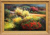 Framed Oil Painting, Original Impressionist Max Yoon Signed, Garden Scenery