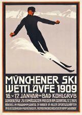 Vintage Ski Posters MUNCHENER SKI WETTLAFVE 1909, Germany, A3 Travel Print