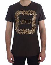 NEW DOLCE & GABBANA T-shirt Crewneck 2015 Motive Print Purple Cotton s. IT52/ XL