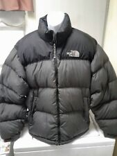 The NORTH FACE 700 Nuptse Hooded Puffy Goose Down Jacket Men's XL Gray Black