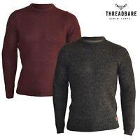 Mens Threadbare Crew Neck Jumper Medium Knit Wool Blend Winter Sweater Top