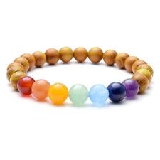 """Natural 8mm Sandalwood Beads Chakra Stones Braided Elastic Energy Bracelet Gift 02# 7 Chakra(7"""" Stretchy)"""