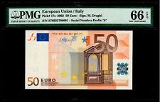 EUROPEAN UNION, ITALY 2002 50 EURO. SIGNATURE M.DRAGHI. PMG-66EPQ. PICK-17s.