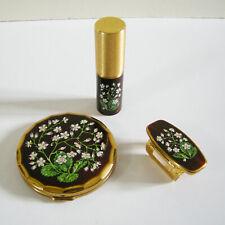 Vintage Mascot Compact, Perfume Bottle & Lipstick Holder w/ Lip Mirror Set