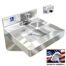 Ada Washing Hand Sink+Single Faucet+40Oz Wall Soap Dispenser Stainless Steel
