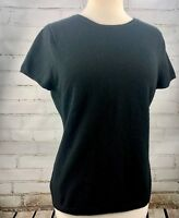 Neiman Marcus 100% Cashmere Sweater Short Sleeve Top Black Large