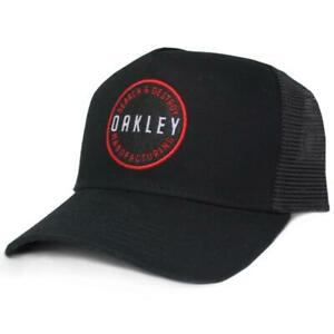 Oakley Ringer Adjustable Trucker Cap Jet Black Mens Snapback Logo Baseball Hat
