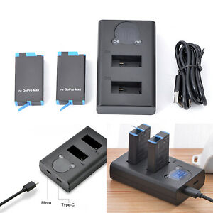 Dual Battery Charger & Battery for GoPro MAX Panoramic Action Camera Accessories