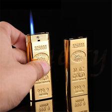 Gold Bullion Cigarette Lighter Butane Gas Cigar Lighter Refillable Windproof New