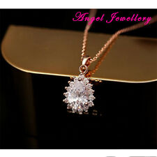 Gold Plated Jewellery Necklace Made With Clear Pear Cut Zircon Crystal