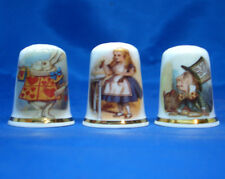 Birchcroft China Thimbles -- Set of Three -- Alice in Wonderland
