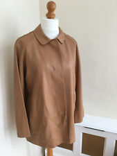 JAEGER Tan Brown Leather Smart Jacket Size L UK 12/14 : NEW