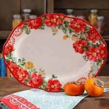 """NEW Pioneer Woman Vintage Floral 14.5"""" Serving Platter- red, scalloped, oval"""