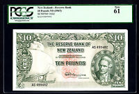 New Zealand 10 Pounds ND 1967 P. 161d PCGS 61 New Rare Note Last Prefix AS