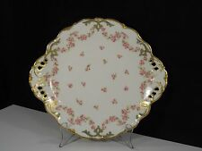 Vintage Limoges France Elite Works Oval Scalloped Reticulated Plate w/ Gold trim