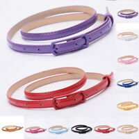 Women Solid Thin Skinny Waist Belt Patent Leather Narrow Dress Waistband Strap
