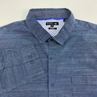 Michael Brandon Button Up Shirt Men's Size XL Long Sleeve Navy Stretch Casual