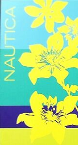 """NAUTICA NEON YELLOW,TURQUOISE,TEAL,NAVY BLUE FLORAL COTTON BEACH TOWEL-35""""X66"""""""