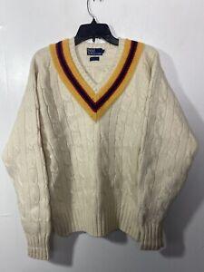 Polo Ralph Lauren Beige Cream Cable Knit Sweater Men Size L Wool V-neck