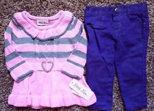 Girl's Size 12 M Month NWT Pink Silver Little Lass Sweater, NWOT Healthtex Pants