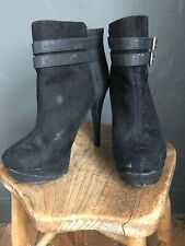 New Look Black Very High Heel Ankle Boots with Fur 6/39