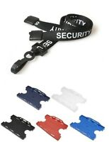 Black Pre Printed SECURITY Plastic Clip Lanyard with ID Double Card Holder