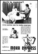 PUBBLICITA' MOKA EXPRESS  BIALETTI CAFFETTIERA CASALINGA FAMIGLIA CUCINA 1957