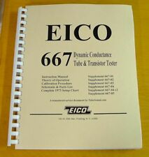 Ultimate 130pp MANUAL & SETUP CHARTS for EICO 667 Tube Tester