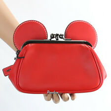 NWT Coach Disney Mickey Mouse Leather Kisslock Wristlet Clutch 65794 New RARE