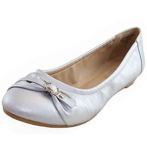 New women's shoes low heel wedge pump work casual comfort bridal summer silver