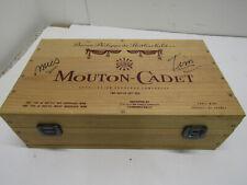 OLD VINTAGE WOOD MOUTON-CADET WINE CRATE BOX APPELLATION BOURDEAUX CONTROLLE