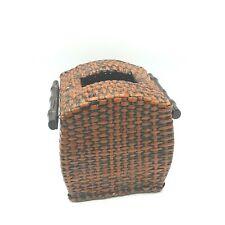 Wooden Wicker Tissue Box Cover Dispenser Rustic Country Cabin Square Brown 6x6