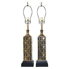 Pair Westwood Mid-Century Modern Hollywood Regency Chessboard Lamps Retro VTG