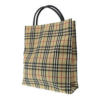 Burberry Classic Check Hand Tote Bag Beige Black Canvas Authentic #MM58 O