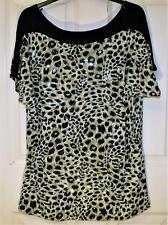 NEW QUALITY BLACK MIX SPARKLE LEOPARD PRINT TOP SIZE 16/18 # BOX