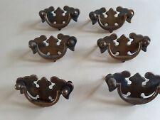 6 vintage brass handles